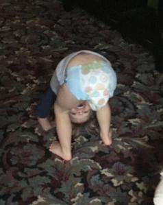 baby bending over