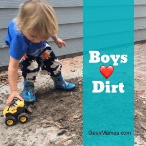 Toddler playing in dirt