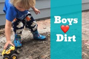 Toddler playing in dirt