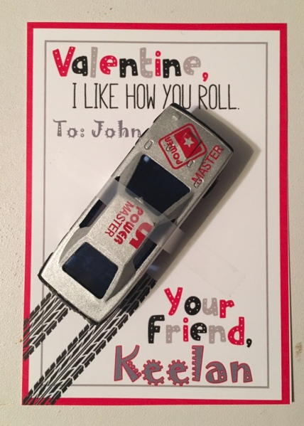 Handmade valentine cards with cars