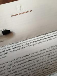 playboy magazine acceptance letter