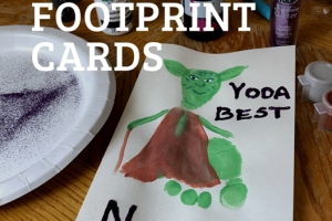 yoda best footprint cards handmade father's day mother's day