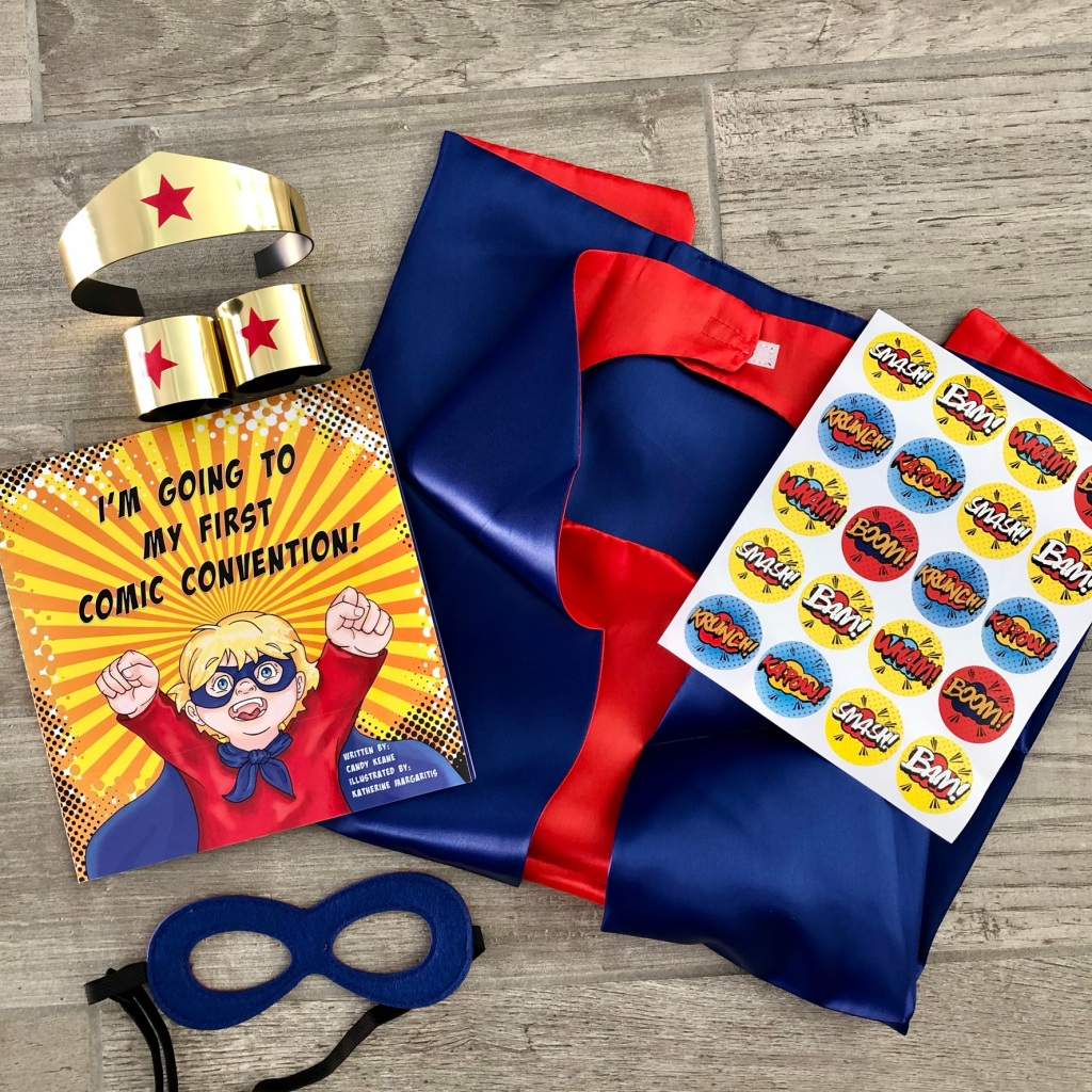 super hero gift set with book cape and mask