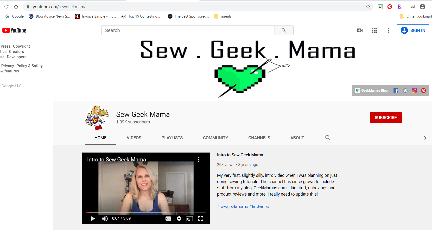 SewGeekMama Youtube Channel