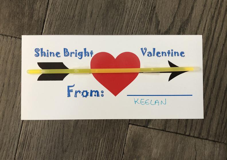 glow stick valentine cards for kids