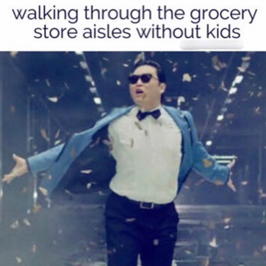 mom grocery shopping alone