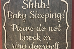 baby sleeping wooden sign
