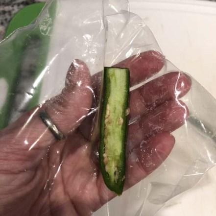 Slice pepper lengthwise