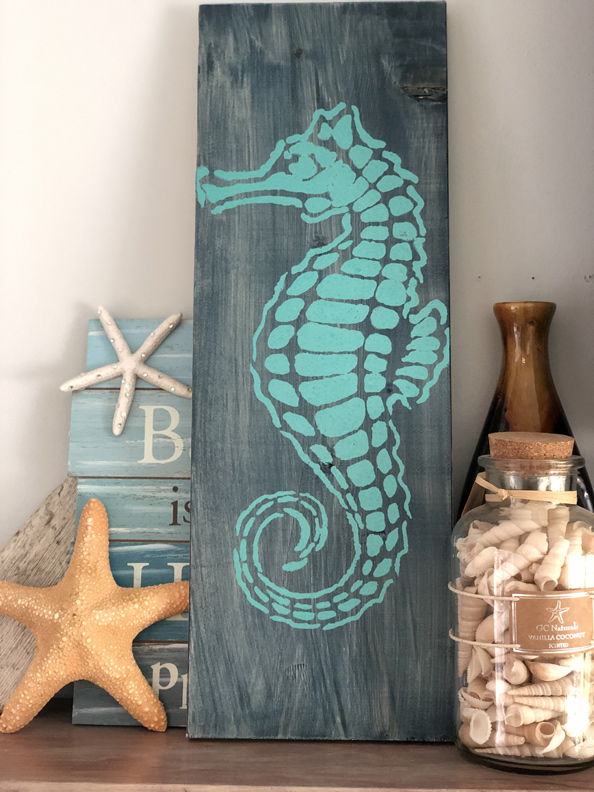 seahorse beach decor stencil