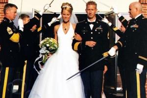 arch of sabers army wedding