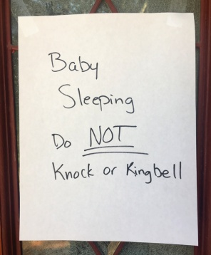 handwritten baby sleeping sign