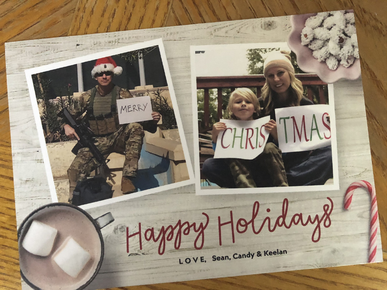 Christmas card with deployed husband and dad