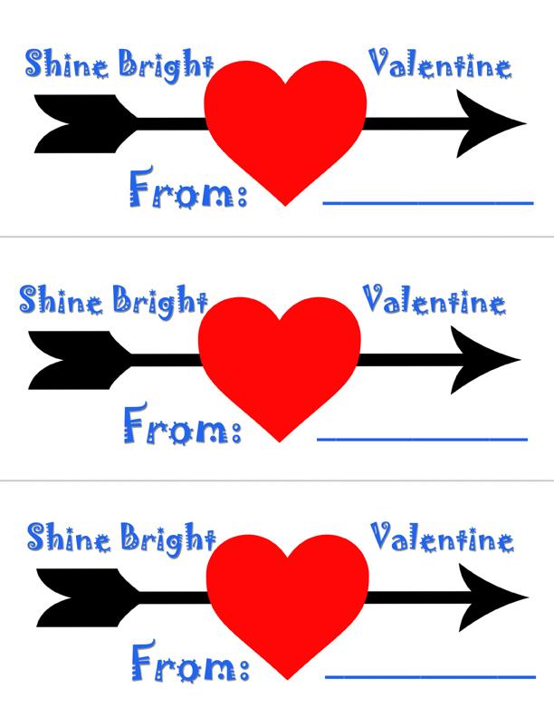 Printable glow stick valentine cards