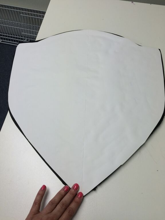 Covering the shield straps with poster board