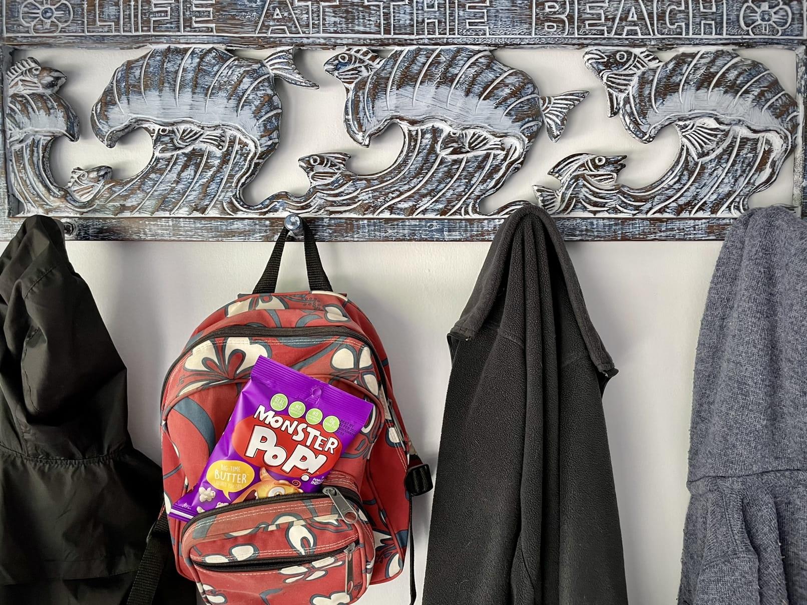 Monster Pop in school bag