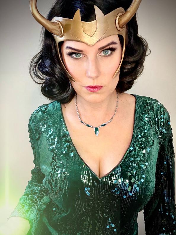 Free Loki helmet template. Candy Keane as Loki variant cosplay.
