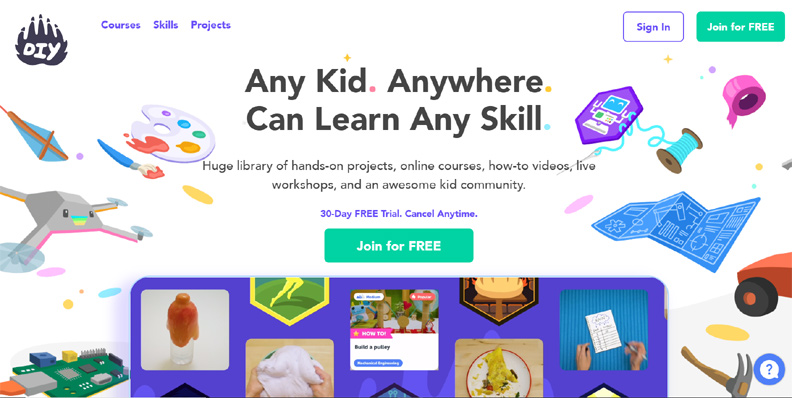 diy.org is a unique online learning community for kids